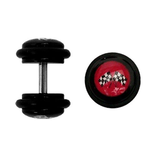 Body Accentz trade; Earrings Rings Fake Cross Checkered Flag Cheater Plug 16 gauge - Sold as a pair]()