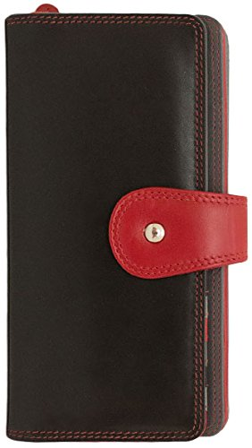ILI 7875 Fold Over Clutch Wallet with Tab Closure - Black Red Grey (Fold Tab Over)