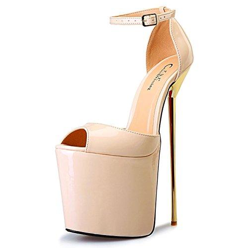 Similicuir Pour Cuir Extérieur Fête YC à Hauts Printemps Chaussures Compensés Sandales en Champagne Été Talons L Talons Femmes Chaussures Verni Mariage FzqUPXX