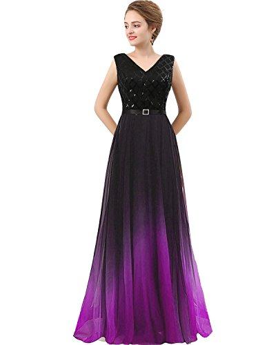 - Plus Size Black Sequined Ombre Chiffon Gradient Prom Evening Dress Purple US 18W