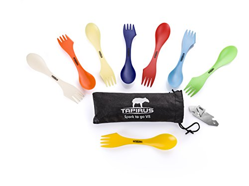 Tapirus Spork To Go V8 Set | 8 Colorful Durable & BPA Free Tritan Sporks | Spoon, Fork & Knife Combo Utensils Flatware Mess Kit For Camping & Outdoor Activities | With Bottle Opener & Carrying Case - Lexan Bottle Cool