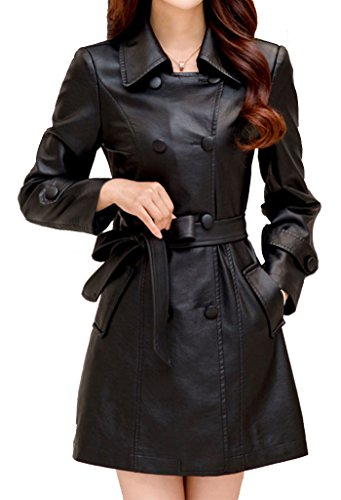 Helan Women's Double Breasted PU Leather Coat With Belt I...