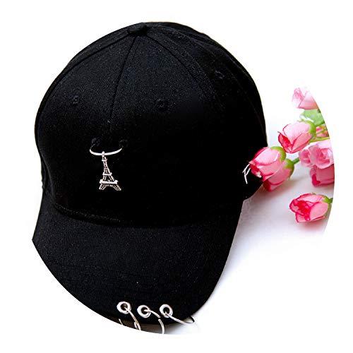 帽子男性女性の春と夏の野生の潮の青年のリングリングヒップホップの帽子と野球のキャップ,ブラック,調節可能な