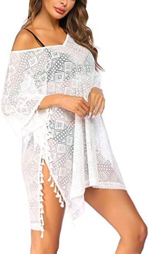 Avidlove Women's Swimwear Cover Ups V-Neck Bikini Beachwear Sheer Bathing Suit Coverups with Tassel