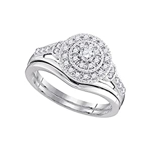 10kt White Gold Womens Diamond Round Bridal Wedding Engagement Ring Band Set 1/3 Cttw