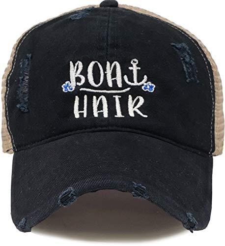 BH-200-BH06 Patch Mesh Baseball Hat - Boat Hair - Black]()