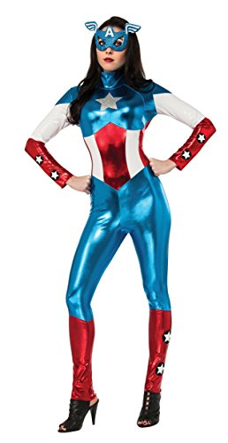 Secret Wishes Women's Marvel Universe American Dream Costume Cat Suit and Eye Mask