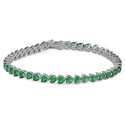 "Bracelet Tennis Femme - Argent Fin 925/1000 - Oxyde de Zirconium Emeraude ""18.5 CM"""