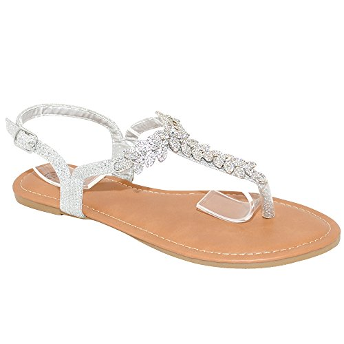 (TRENDSup Collection Womens T-Strap Buckle Flats Sandals (8, Silver Glitter))