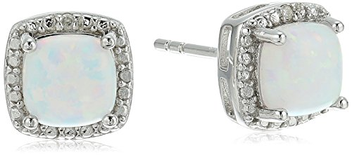 Sterling Silver Cushion Created Opal and Diamond Accented Halo Stud (Diamond October Birthstone Earrings)