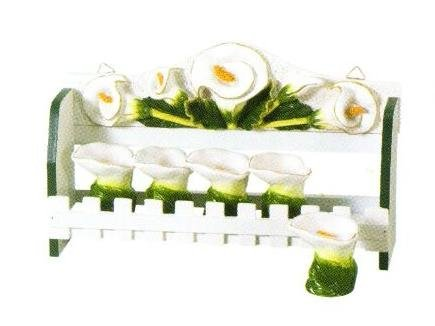 LILY 3-D Majolica Spice Rack & Jars *NEW*