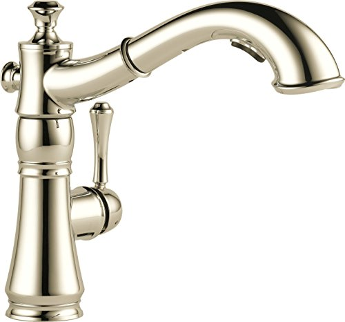 Delta Faucet 4197-PN-DST Single Handle Pull-Out Kitchen Faucet, Polished Nickel - Pn Single Handle