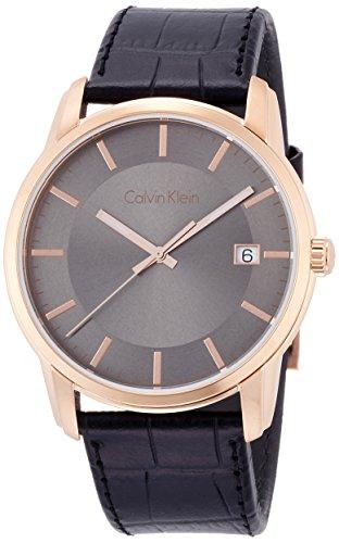 Calvin Klein K5S316C3 Mens Infinity Black Leather Strap Watch