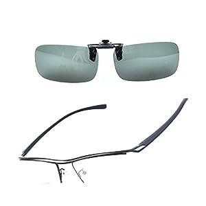 SO SMOOTH WIND Pure Titanium Glasses men Eyeglasses Prescription Eyewear Frame With Polarized Sunglasses Clip (Black, Demo clear lens)