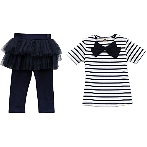 Free Luv Skis (Top Shop US Girls Striped T-shirt Lace Divided Skirt Outfit, Two Pieces£¬deepblue, 120)