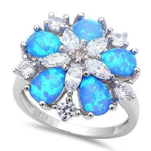 Gorgeous Lab Created Blue Fire Opal & Cubic Zirconia Flower .925 Sterling Silver Ring Size 6 (Ring Opal Silver Created Flower)