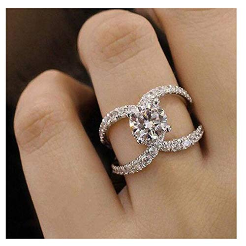 Big Sale! Elegant Diamond Fine Ring Charm Creative Rings Wedding Band Engagement Rings for Women (Silver E, 8)
