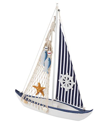Juvale Sailboat Model Decoration - Wooden Sailing Boat Home Decor Set, Beach Nautical Design, Navy Blue and White with Ship's Wheel, 13 x 16 x 3 Inches