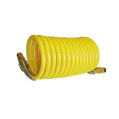 Interstate Pneumatics IP-HR14-005 Yellow Polyurethane Recoil Hose 1/4 Inch x 5 Feet Swivel Fittings
