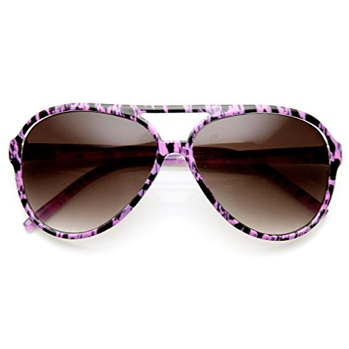 Lavender Womens Sunglasses - zeroUV - Womens Fashion Colorful Spotted Animal Print Aviator Sunglasses (Purple-Cheetah Lavender)
