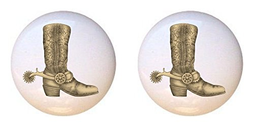 SET OF 2 KNOBS - Spur Cowboy Boot - Cowboys Cowgirls - DECORATIVE Glossy CERAMIC Cupboard Cabinet PULLS Dresser Drawer KNOBS