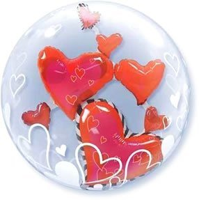 Lovely Floating Hearts Plastic Balloon (Double Bubble) by Just For Fun (Heart Double Floating)