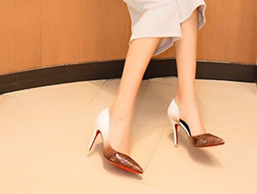 Rose États Mellow Printemps À unis L'europe Mode Heels Pointu Et High Peu Les Gradient Creux 2 Xiaoqi Été Profond Talon Simple Chaussures De wqrUvqI