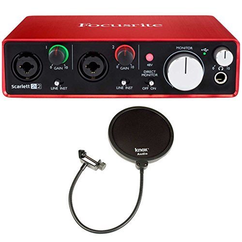 Focusrite Scarlett 2i2 USB Audio Interface (2nd Gen) + 2 Free Knox Pop Filters by Focusrite