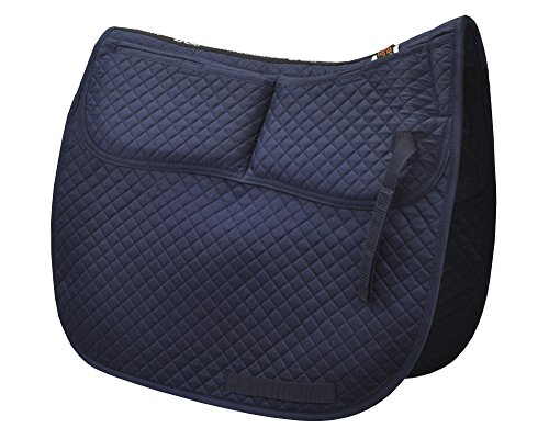 ECP Equine Comfort Products ECP Cotton Correction Dressage Pad - Memory Foam Pockets (Navy - Mattes Pads Saddle