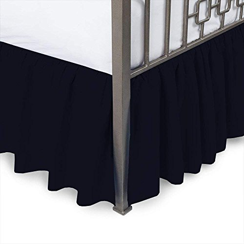 MD Home Decore Navy Blue Solid, Full Size Ruffled Bed Skirt, 16 Inch Drop with Split Corners 100% Cotton-600 Thread Count, Easy Fit Gathered Style, 3 Sided Coverage