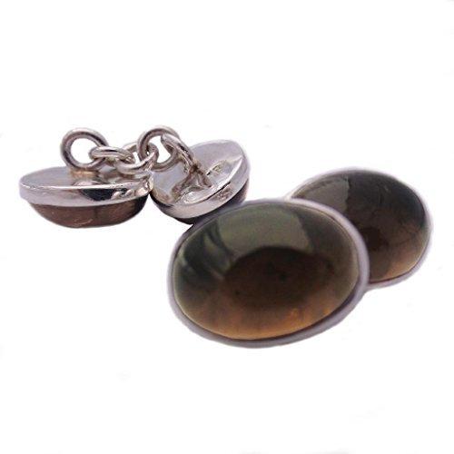 Boutons de manchette quartz fumé en argent massif 925 - Taille des pierres 10x14mm