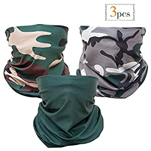 3 Pcs Camo Hunting Face Mask, Camouflage Microfiber Sun UV Dust Wind Protection Face Neck Gaiter Headwear for Motorcycle…