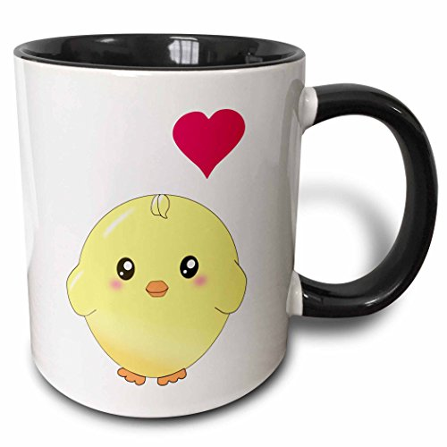 3dRose mug_112902_4 Cute yellow chick with red love heart sweet kawaii anime cartoon adorable round baby bird Two Tone Black Mug, 11 oz, Black/White