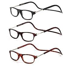 LianSan Magnetic Reading Eyeglasses 1.00 1.50 2.00 2.50 3.00 3.50 4.00 Clic Folding Adjustable Square Reader Glasses 3 Packs L6000 BK-BN-TT +4.00