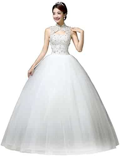 13361ba9dd0 Clover Bridal Vintage High Collar Pearl Wedding Dress for Bride White Under  100
