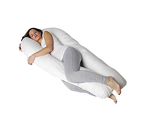 QUEEN ROSE Pregnancy Body Pillow- King Size Originally w/Premium Outer Cover - for Back Pain and Side Sleeping (white) QR-147