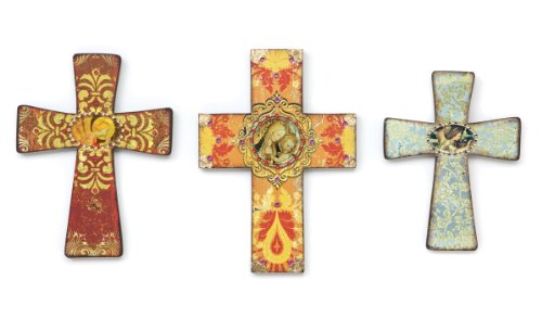 WALL CROSSES Set of 3 Jeweled and Painted Folk Art NEW Jesus