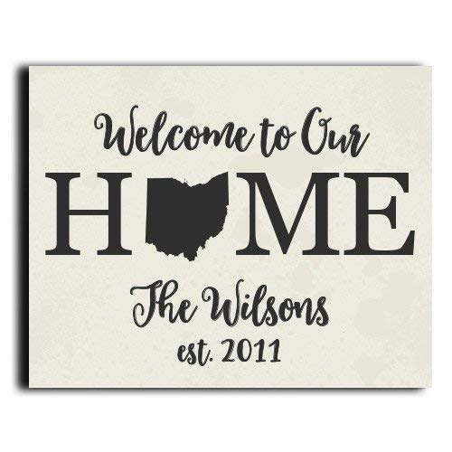 Welcome Home Sign   Personalized Home Decor   Wedding Gift   Housewarming  Gift   Rustic Decor   Farmhouse Decor   Wall Decor   State Print    Personalized ...