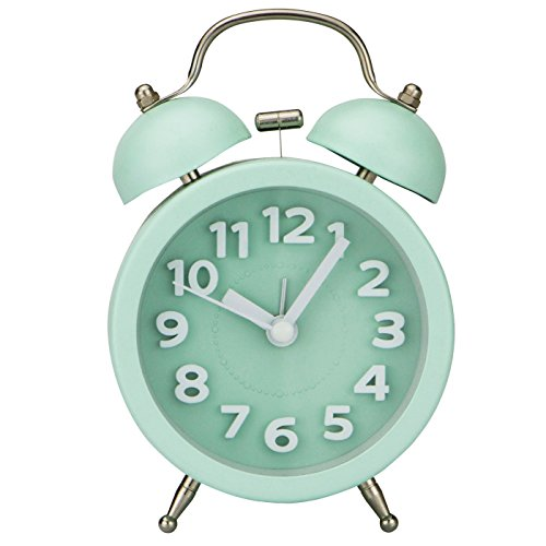 Retro Twin Bell Alarm Clock in Mint Green