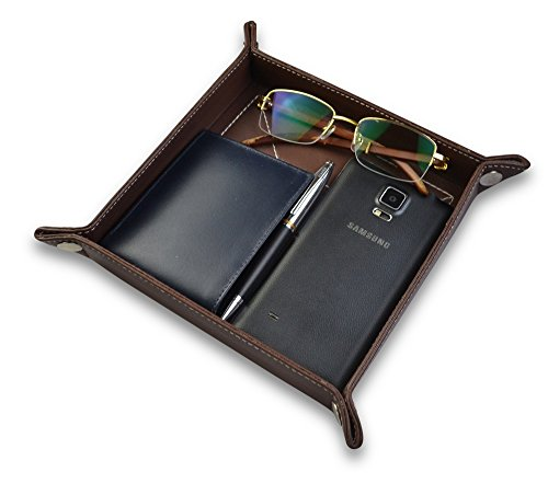 Leather tray Bedside Storage Tray Box For Key Phone Coin Wallet Watches SouthBeachLeather (Dark Brown With White Stitching)