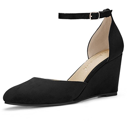 Ankle Strap Pump Shoes (Allegra K Women's Rounded Toe Buckled Ankle Strap Wedge Pumps (Size US 8) Black)