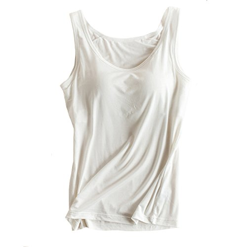 (Womens Modal Built-in Bra Padded Camisole Yoga Tanks Tops White XL)