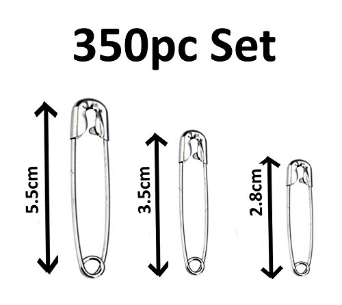 350 Pieces Heavy Duty Safety Pins with 3 Sizes (28 mm, 35 mm, 55 mm) Individual containers for Clothing, Crafts, Art, Skirts and Blanket Lifetime