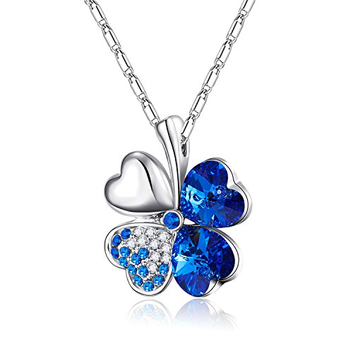4c6729f98 Mondaynoon Mother's Day Gift Swarovski Elements Crystal Jewelry Women's  Lucky Four-leaf Clovers Pendant Necklace