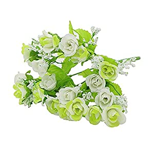 MARJON Flowers1 Bouquet 21 Head Artificial Fake Rose Wedding Party Home Decoration Flower - White-Green 53