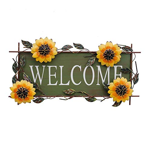 (E-view Sunflower Welcome Sign Decorative Vintage Metal Wall Hanging Home Garden Decor - Welcome Plaque for Front Door, Garden Themed)