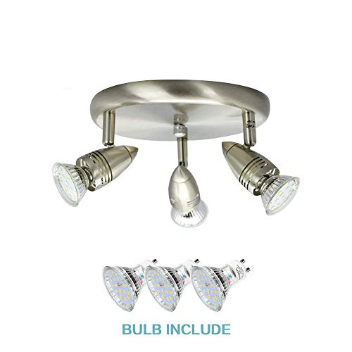 DLLT Flushmount Ceiling Track Lighting Kits-3 Light Multi-Directional Ceiling Spot Lights Fixture with GU10 Bulbs for Kitchen Living Room Bedroom Hallway, Warm White Nickel Steel