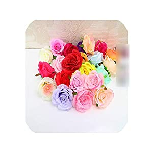 20pcs Rose Silk Flowers Head Artificial Flowers Wedding Backdrop Wall Flower Stand Arrangement Stage Decoration Supplies 73