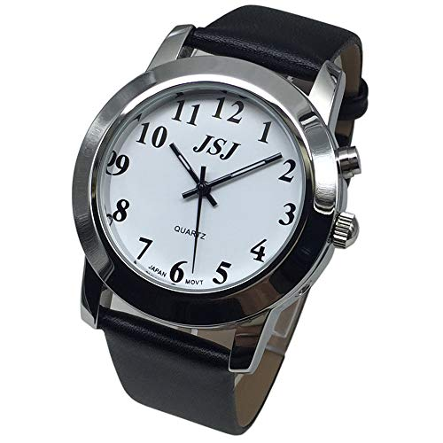 English Talking Quartz Watch with Leather Strap,Talking Date and time, White Dial