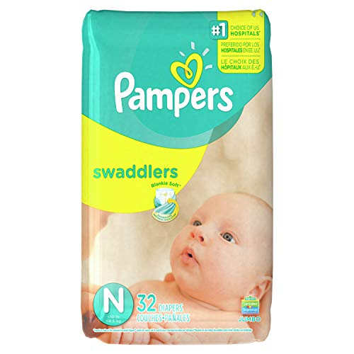 Pampers Swaddlers Disposable Diapers Newborn Size 0 (> 10 lb), 32 Count, JUMBO (Pampers Baby Dry Size 3 32 Count)